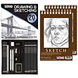 U.S. Art Supply 20 Piece Professional Hi-Quality Artist Sketch Set in Hard Storage Case - Sketch & Charcoal Pencils, Pastel, Stumps, Eraser, Sharpeners - Bonus Pack of 2-5.5'' x 8.5'' Sketch Pads