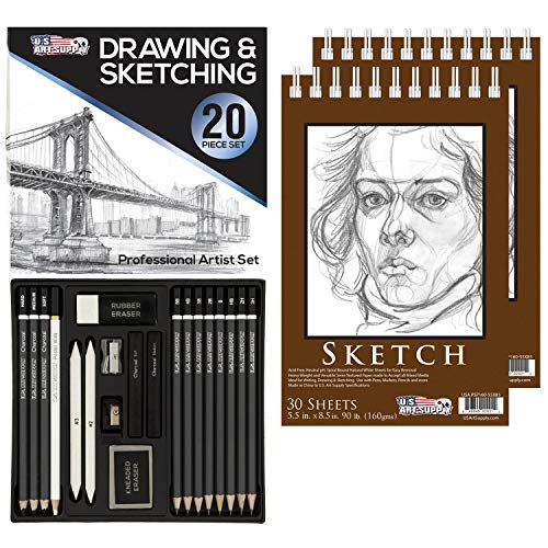 U.S. Art Supply 20 Piece Professional Hi-Quality Artist Sketch Set in Hard Storage Case - Sketch & Charcoal Pencils, Pastel, Stumps, Eraser, Sharpeners - Bonus Pack of 2-5.5