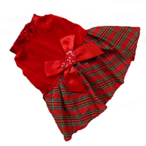 etosell-pet-puppy-clothes-dog-red-grid-dress-costume-outwear-shirt-heart-bow-