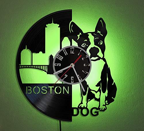 BOSTON TERRIER LED LIGHT Vinyl Record Wall Clock Wonderful Handmade Gift Amazing Home Décor Night Light Night Lamp ()