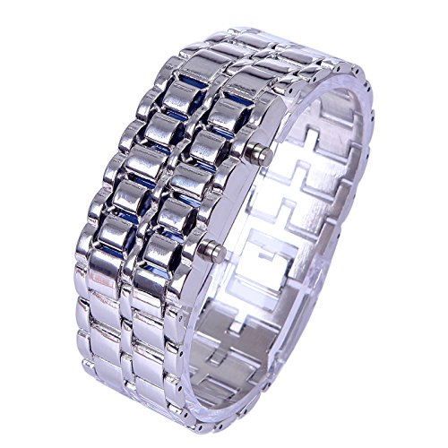 HDE Iron Silver Gray Iron Samurai Style Stainless Steel Digital Volcanic Lava Watch with Blue LED Display