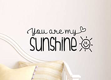 You are my sunshine cute Wall Vinyl Decal Quote lettering Art Saying Sticker  stencil nursery wall