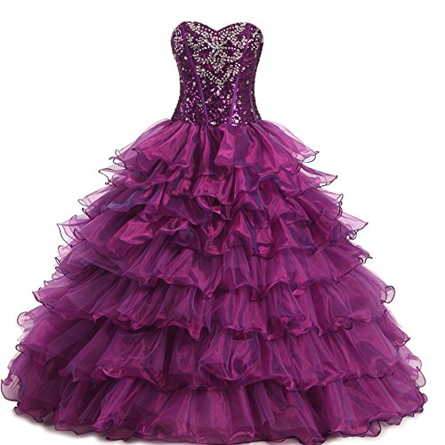 Diandiai Women's Sweetheart Beaded Quinceanera Dresses Crystal Organza Ball Gown Prom Dress Purple 6