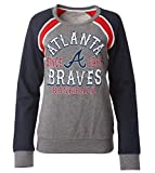 MLB Atlanta Braves Women's French Terry Crew Neck Sweatshirt with Contrasting Sleeves, Gray, Small