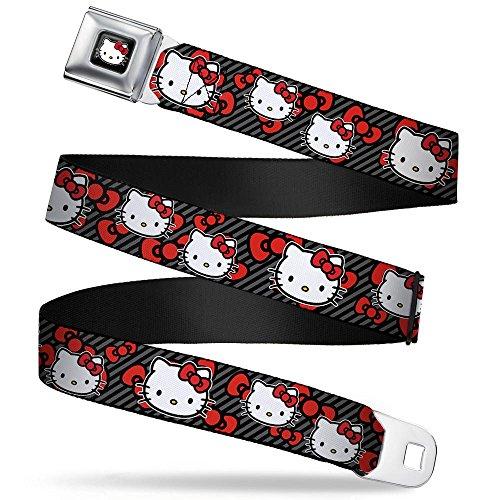 (Buckle-Down Seatbelt Belt - Hello Kitty Multi Face w/Diagonal Stripes/Bows Black/Gray/Red - 1.0