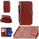 Galaxy Core Prime SM-G360 Case with Free Screen Protector,Funyye Leather Wallet Strap Cover with Card Slots Embossed Design Full Protection Stand Case Cover for Galaxy Core Prime SM-G360 - Brown