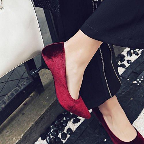 Mee Shoes Damen high heels Geschlossen Suede Pumps Weinrot
