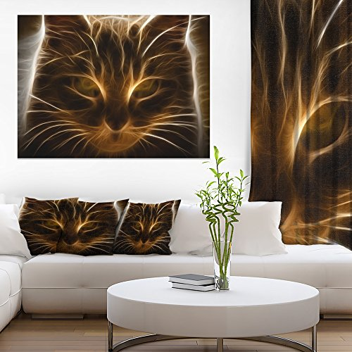 Glowing Fractal Cat Illustration Animal Canvas Wall Art