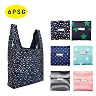 6 Pack Reusable Shopping Grocery Pouch Bags 35 LB Capacity -Washable Foldable Heavy Duty Shopping Tote Bag Large Eco-Friendly Purse Bag fits in Pocket Durable & Lightweight
