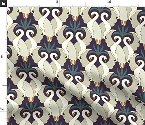 Spoonflower Swan Fabric - Vintage Home Decor Upholstery Caelabeegmail Com 1920S Teal Plum Art Deco Hand Print on Fabric by The Yard - Eco Canvas for Durable Upholstery Home Decor Accessories ()
