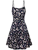 Women Summer Sleeveless Floral Print Stretch Big Hem Casual Beach Mini Dresses as the picture show2 M