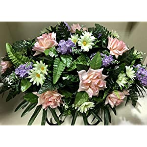 Spring Cemetery Flowers for Headstone and Grave Decoration-Pink Rose White Daisy Mix Saddle 119