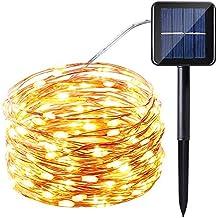 Icicle Starry serie de luces solares, 33 pies, 100 luces LED con cable de cobre, para Navidad, patio, césped, jardín, boda, fiesta y decoraciones festivas, Blanco Warm
