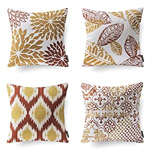 Phantoscope Set of 4 Decoractive New Living Series Orange and Yellow Throw Pillow Case Cushion Cover 18 x 18 inches 45 x…