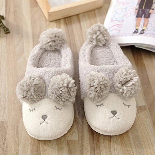 Womens Cute Sheep Warm Plush Soft Sole Indoor Slipper Gray x84aG1W2
