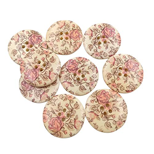 30Pcs Vintage Flower Wooden Buttons for Craft Sewing Scrapbooking DIY Clothes Decor Accessory