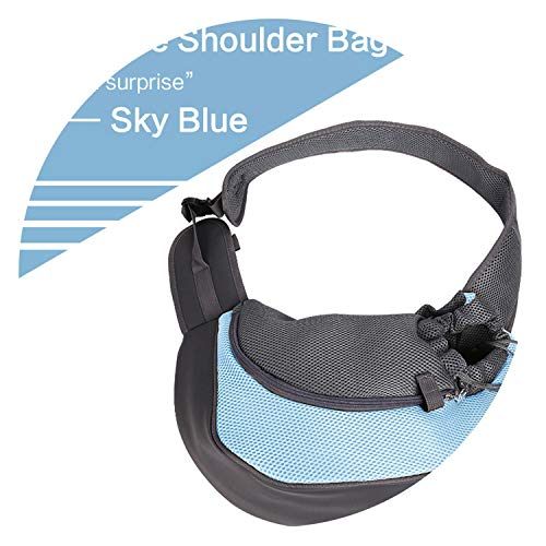 Pet Dog Carrier Backpack Mesh Outdoor Walk Travel Shoulder Handle Bags Cats Chihuahua,Sky Blue,S