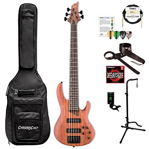 ESP LB1005SEBNS-KIT-1 B Series B-1005SE 5-String Electric Bass Guitar, Natural Satin by ESP