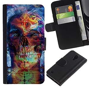 JackGot ( Psychedelic Neon Skull ) Samsung Galaxy S4 IV I9500 la tarjeta de Crédito Slots PU Funda de cuero Monedero caso cubierta de piel