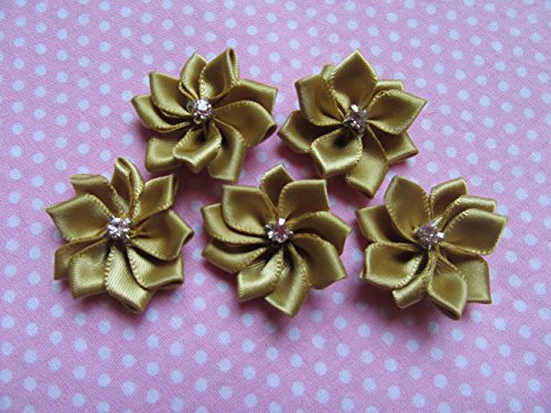 YYCRAFT 30pcs Satin Ribbon Flowers with A+ Sewn Rhinestone Applique for Wedding Decoration,Hair Bows Clips DIY Craft(Pale ()