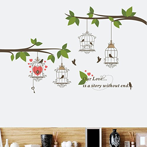 - BIBITIME Green Leaves Tree Branch Heart Birdcage Couple Birds Wall Decal Sayings Our Love is a Story Without end Quotes Sticker for Lovers Bedroom Wedding Room