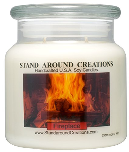 Fireplace Scented Candle (Premium 100% Soy Apothecary Candle - 16oz. - Fireplace: A woodsy, earthy aroma. True to it's name.)