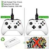 Rechargeable Battery Pack, Compatible With Xbox One Controller. 2PCs Lithium High-Speed Quick Charging 1200mAh White Rechargeable Battery, Compatible With Xbox One/X/S/Elite Wireless Controller