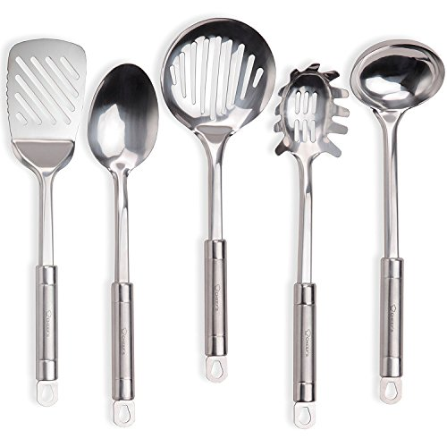 Stainless Steel Kitchen Utensil Set - Main Cooking Utensils – Skimmer, Slotted Turner, Soup Ladle, Spaghetti Spoon, Serving Spoon-Nonstick Heat Resistant