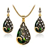 Ezing Women Gift Vintage Gold Plated Green Peacock Jewelry Set Pendant Necklace Earrings