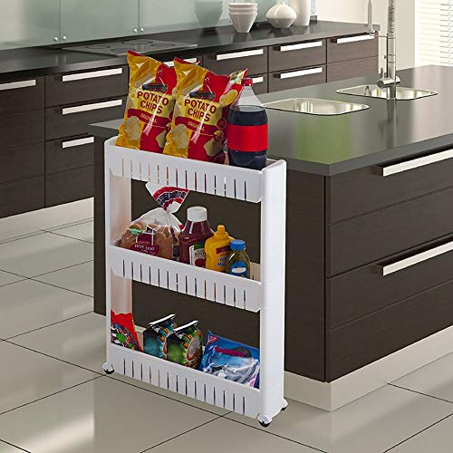HWTP Mobile Shelving Unit Organizer, Kitchen with Narrow Space for 3-Story Shelf Refrigerator to Save Slim Kitchen Bathroom