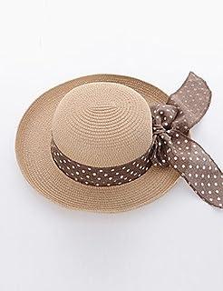 ZYT Da donna Estate Paglia Romantico Casual Alla pescatora Cappello di paglia Cappello da sole,Solidi Beige Cachi , beige , one-size