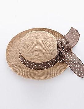 ZYT Mujer Verano Bonito Casual Hilo Sombrero Playero Sombrero de Paja  Sombrero para el sol.Sólido Beige Caqui . beige . one-size  Amazon.es   Deportes y aire ... 7bca65495b5