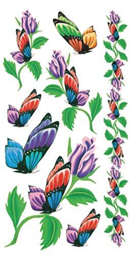 flower butterfly vine temporary tattoo