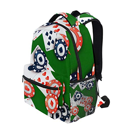(KVMV Bright Casino Chips Poker Cards On Lightweight School Backpack Students College Bag Travel Hiking Camping Bags)