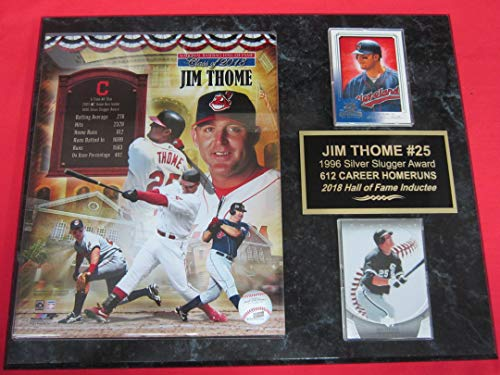 Indians Jim THOME 2 Card Collector Plaque w/8x10 2018 Hall of Fame Photo
