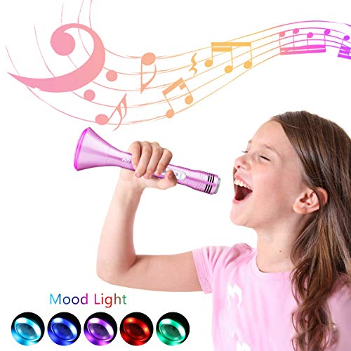 NASUM Wireless Karaoke Microphone for Kids, Best Birthday Gifts for Girls and Boys, Bluetooth Karaoke Machine, Top Present Toys for Kids 3 4 5 6 7 8 9 Years Old (Girls Mikes Little Kid)