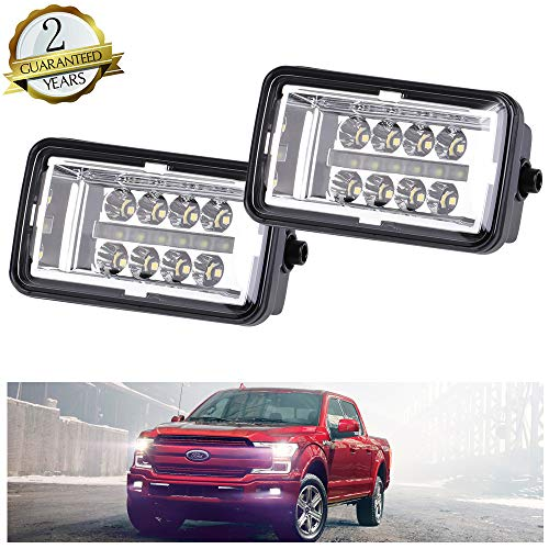 Upgrade LED Fog Lights Compatible for 2015-2018 Ford F150 4 Inch LED Fog Light Assembly Kit with DRL,40W CREE Waterproof LED Bumper Lamps Daytime Running Lights Set,1Pair - KIWI MASTER