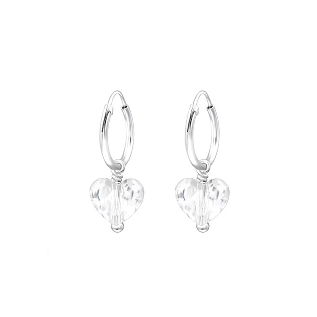 Liara Heart Cubic Zirconia Ear Studs 925 Sterling Silver Polished And Nickel Free