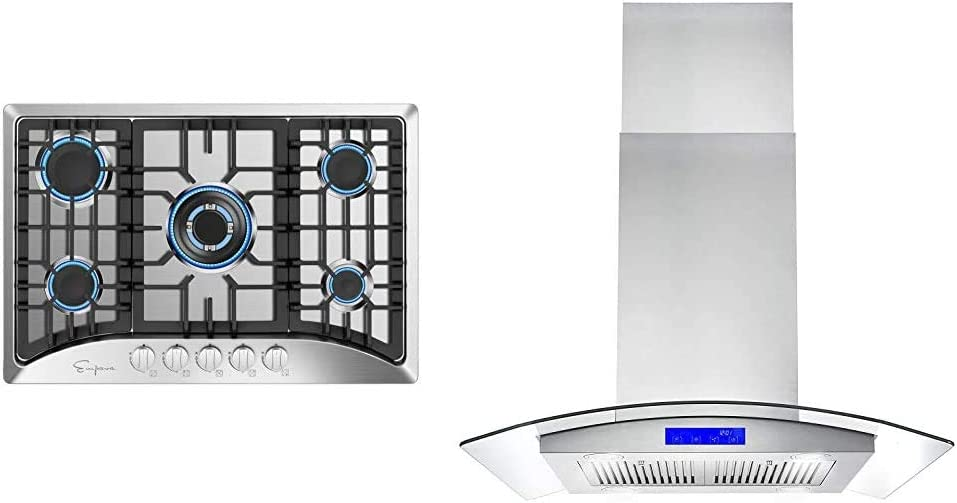 """Empava 30"""" 5 Italy Sabaf Burners Gas Stove Cooktop Stainless Steel, 30 Inch & Cosmo 668ICS750 30 in. Island Mount Range Hood with 380 CFM, Soft Touch Controls, Tempered Glass Visor in Stainless Steel"""