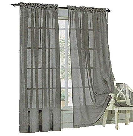 gray window valance diy box pleat sheer curtains drape valance 78quot 35quot panel color options amazoncom 78