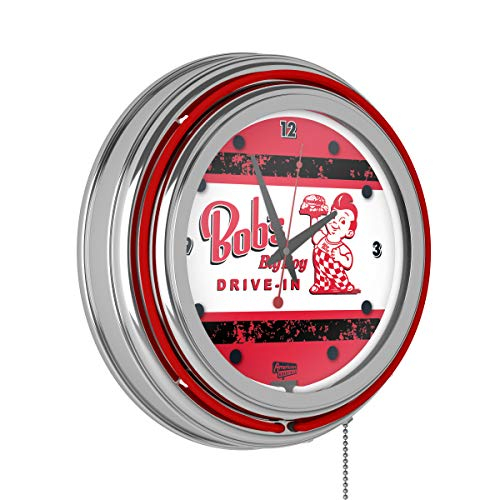 Bobs Big Boy Vintage Chrome Double Ring Neon Clock