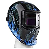 Flexzion Auto Darkening Welding Helmet Solar Powered Weld/Grind Selectable Mask Tool Lightning Skull Face Protector for Arc Tig Mig Mma Grinding Plasma Cutting with Adjustable Shade Range 9-13
