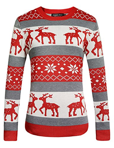 (Camii Mia Women's Crew Neck Pullover Ugly Christmas Sweater (Large, Red Grey))