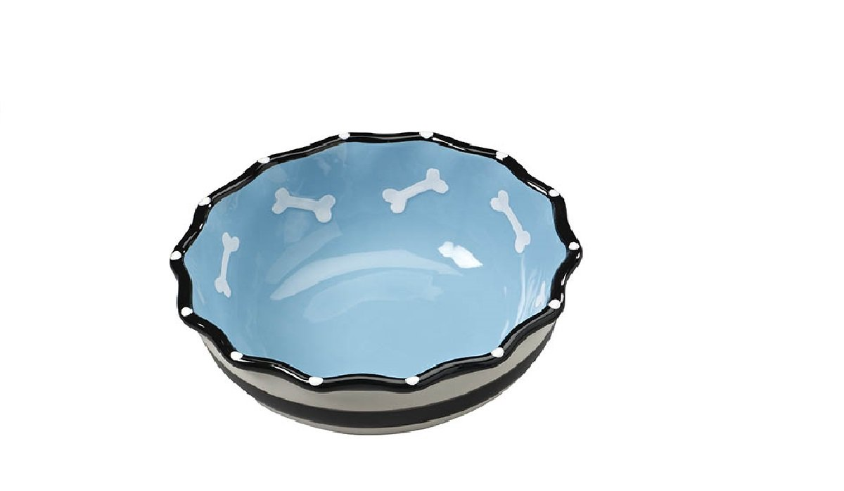 bluee 5\ 5\ Glossy Stoneware pet Dish Hygienic and Easy to Clean