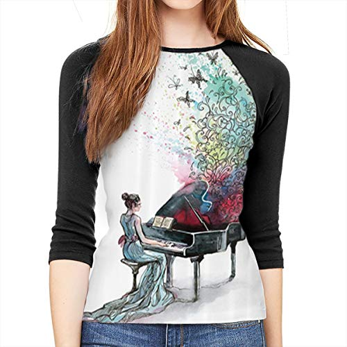 JDSOD Grand Piano Music Butterflies Ornamental Pianist Swirls Vintage Image Women's 3/4-Sleeve Raglan Tee ()