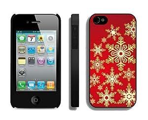 Custom Christmas snowflake iPhone 4 4S Case 5 Black