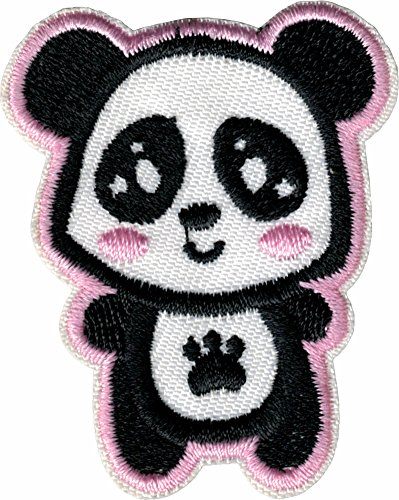 Cute Panda with Paw Print on Belly - Iron Sew On Patch / Applique (Panda Iron)