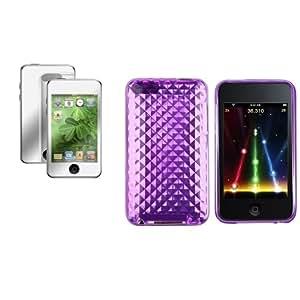 Claro Morado DIAMANTE TPU Dura Funda 3X Espejo Protector Para iPod Touch 2 3