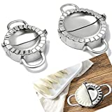 LoveDeal Stainless Steel Dumpling Maker, Dumpling Mold Wraper Dough Cutter, Gyoza Empanada Press Mold, Pie Ravioli Dumpling Mould Pastry Tools, 2 Pack (Small 2.9'' Dia+ Large 3.7'' Dia)