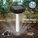 Wonninek Pack of 2 Solar Mole Repeller Gopher Repellent Ultrasonic Vole Repeller Mole Chaser Rodent Deterrent for Lawn Garden Yards Outdoor Waterproof